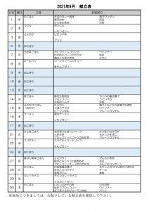 HP 202109献立表のサムネイル
